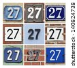 Collage of House Numbers Twenty-seven - stock photo