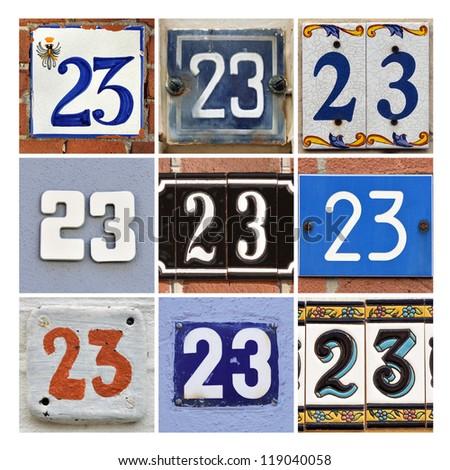 Collage of House Numbers twenty-three - stock photo
