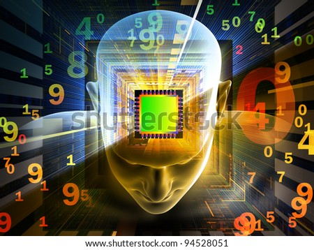 Collage of human head, computer chip, digits and various abstract elements on the subject of intelligence, science, technology, human and artificial mind