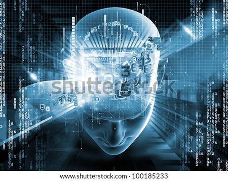 Collage of human head, digits and various abstract elements on the subject of artificial intelligence, modern science, computer technology and human and artificial mind
