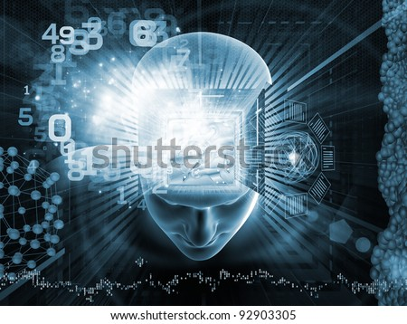 Collage of human head, gear mechanism, digits and various abstract elements on the subject of intelligence, science, technology, human and artificial mind - stock photo