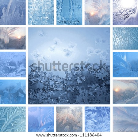 Collage of ice patterns on winter glass - stock photo