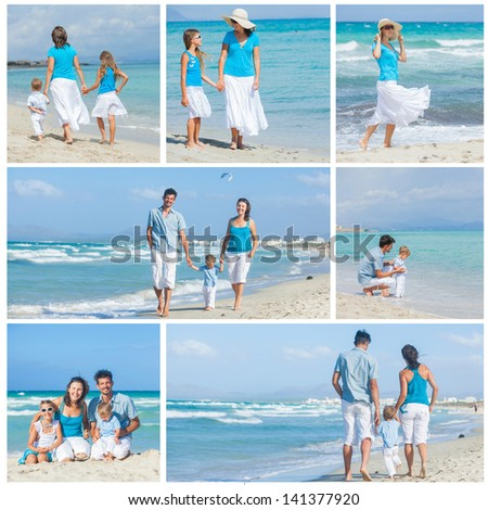 Collage of images family of four having fun on tropical beach - stock photo