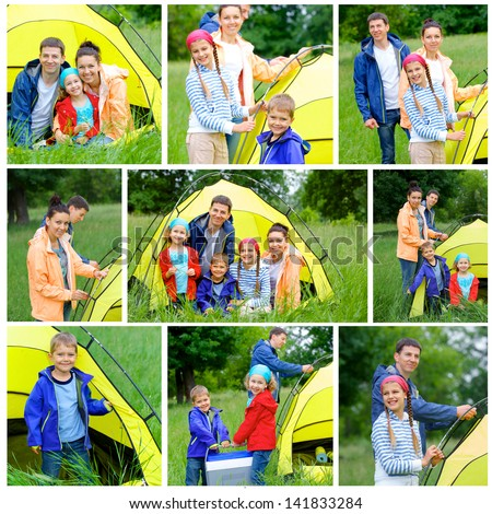Collage of images family with three kids in tent in camping on the nature. - stock photo