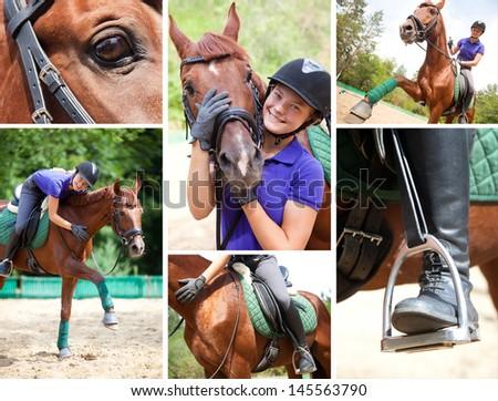 collage of images girl horseback riding - stock photo