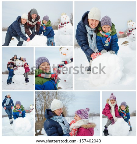 Collage of images happy beautiful family with two kids near snowman outside in winter time - stock photo
