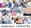 collage of images healthy lifestyle - stock photo