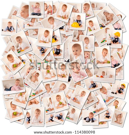 Collage of images of a cute baby in different moments - stock photo