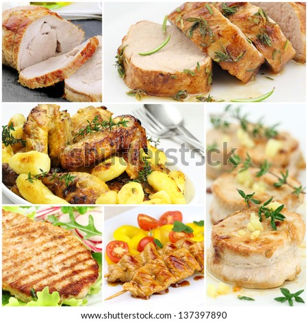 Collage of images of cooked meat and poultry - stock photo