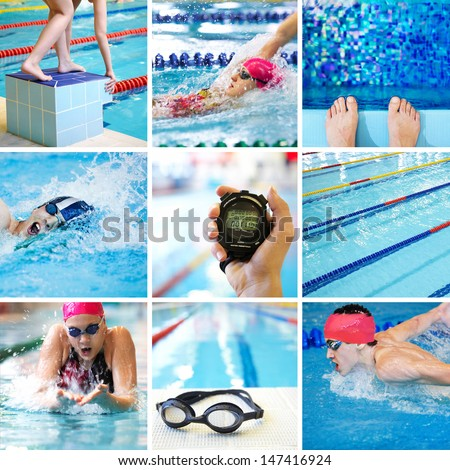 Collage of images on the theme of competitive swimming in the pool - stock photo