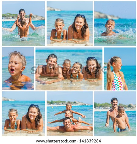 Collage of images portrait of happy family laughing and looking at camera on the beach - stock photo