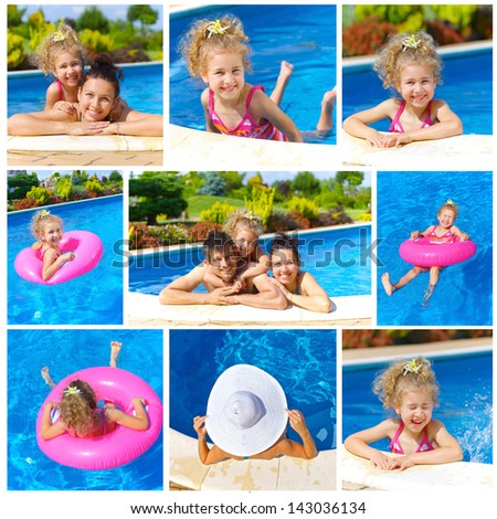 Collage of images pretty little girl with her parent in swimming pool outdoors - stock photo