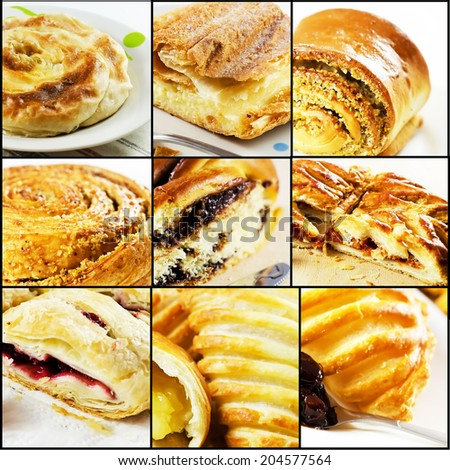 Collage of 9 images representing different types of Romanian traditional pies. - stock photo