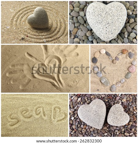 Collage of images with different hearts. Summer concept - stock photo