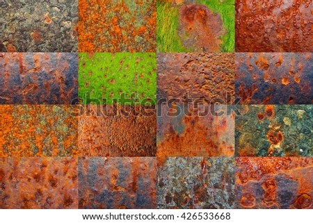 Collage of images with rusty surface theme (longer side of one image is 3000px) - stock photo