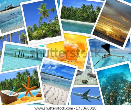 collage of imagesof tropical travel destinations - stock photo