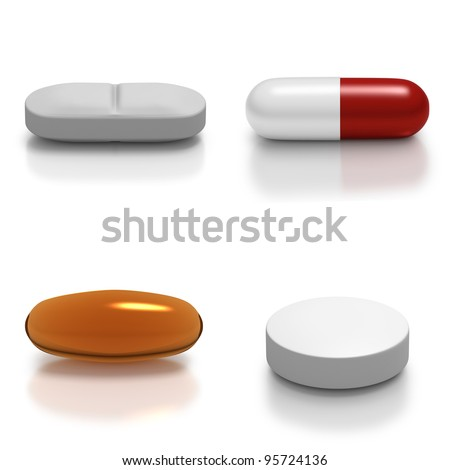 Collage of individual types of medication such as tablet, gel, capsule