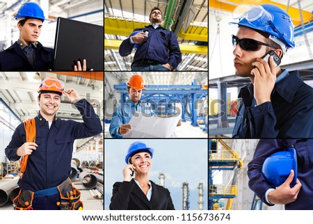 Collage of industrial images - stock photo