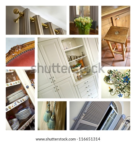 Collage of interiors - stock photo