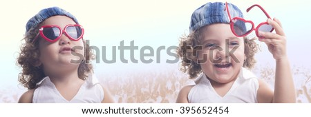 Collage of isolated smiling female child with red sun glasses and blue hat with people on the background