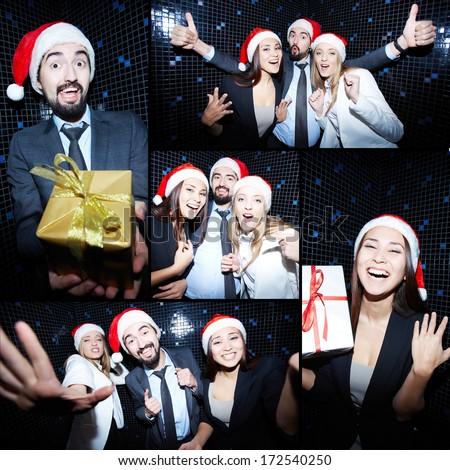 Collage of joyful colleagues in Santa caps having fun in nightclub  - stock photo