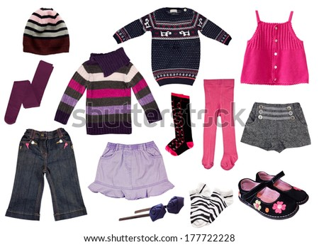 Collage of kid's clothes.Girl clothing isolated on white background. - stock photo