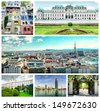 Collage of landmarks in Vienna. Panoramic city view, Upper Belvedere, Donau City, Hundertwasser House,The Museum of Art History and garden walkway at Schonbrunn Palace  - stock photo