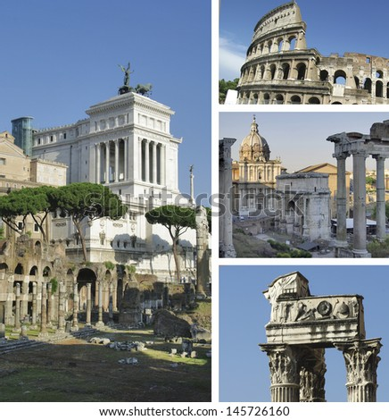 Collage of landmarks of Rome, Italy - stock photo