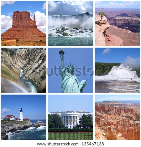 Collage of landmarks of USA - stock photo