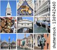 Collage of landmarks of Venice, Italy - stock photo