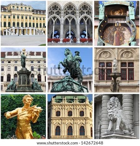 Collage of landmarks of Vienna, Austria - stock photo