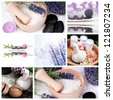 Collage of lavender and spa products. - stock photo