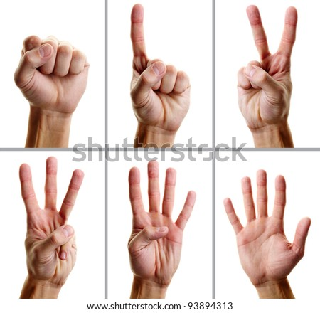 Collage of male hand showing different gestures - stock photo