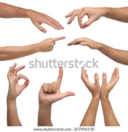 Collage of male hands signs on white background