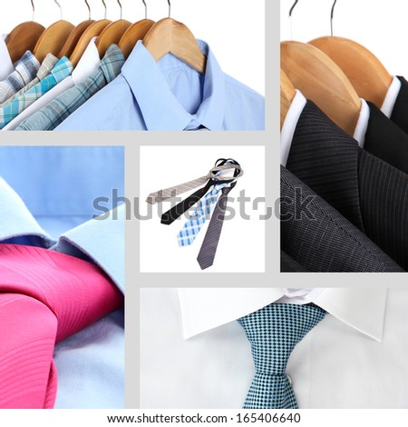 Collage of male shirts and ties - stock photo