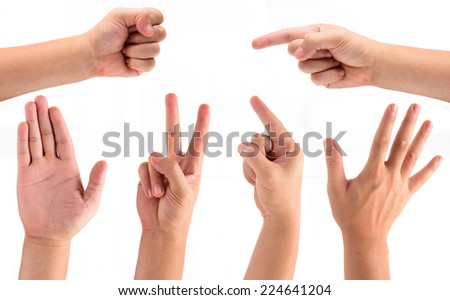 Collage of man hands isolated on white background. - stock photo