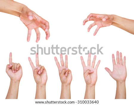 Collage of man hands on white backgrounds - stock photo