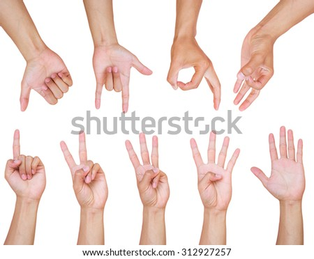 Collage of man hands on white backgrounds