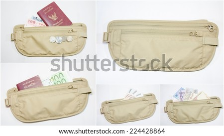 Collage of many different banknotes with passport in waist bag - stock photo
