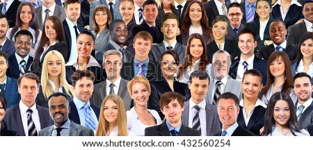 Collage of many different human faces - stock photo