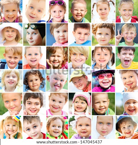 collage of many faces of children