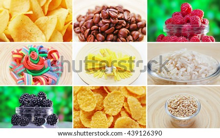 Collage of many food ingredients products
