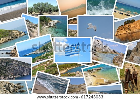 Collage Of Many Photographs Travel Destinations In Greece
