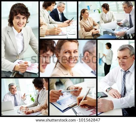 Collage of mature businessman and females at work