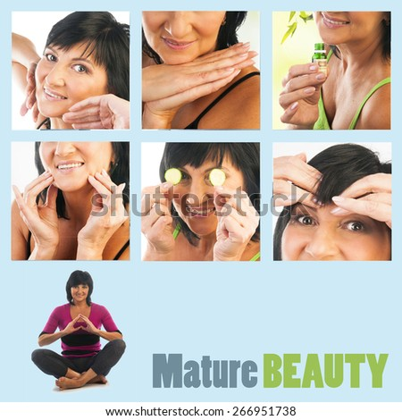 Collage of Mature woman beauty portraits. Mature woman massaging her face. Woman holding slices of cucumber and essential oil. Beauty treatment - stock photo