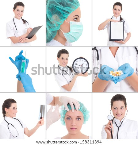 collage of medical pictures: young beautiful female doctor isolated on white background