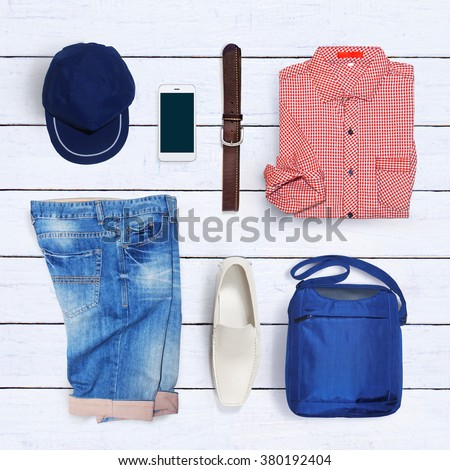 collage of men's clothing - stock photo