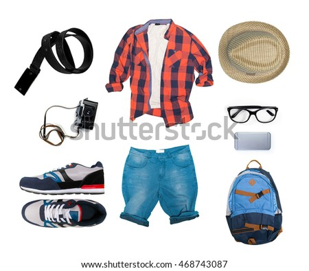 collage of men's clothing isolated white background