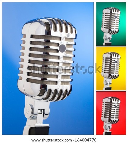 Collage of microphones with different colored backgrounds in square composition - stock photo