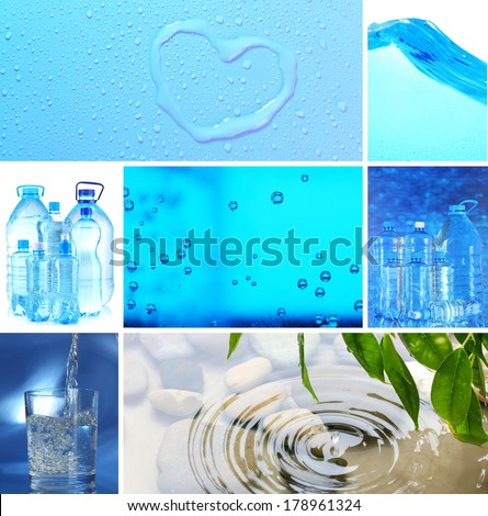 Collage of mineral water - stock photo